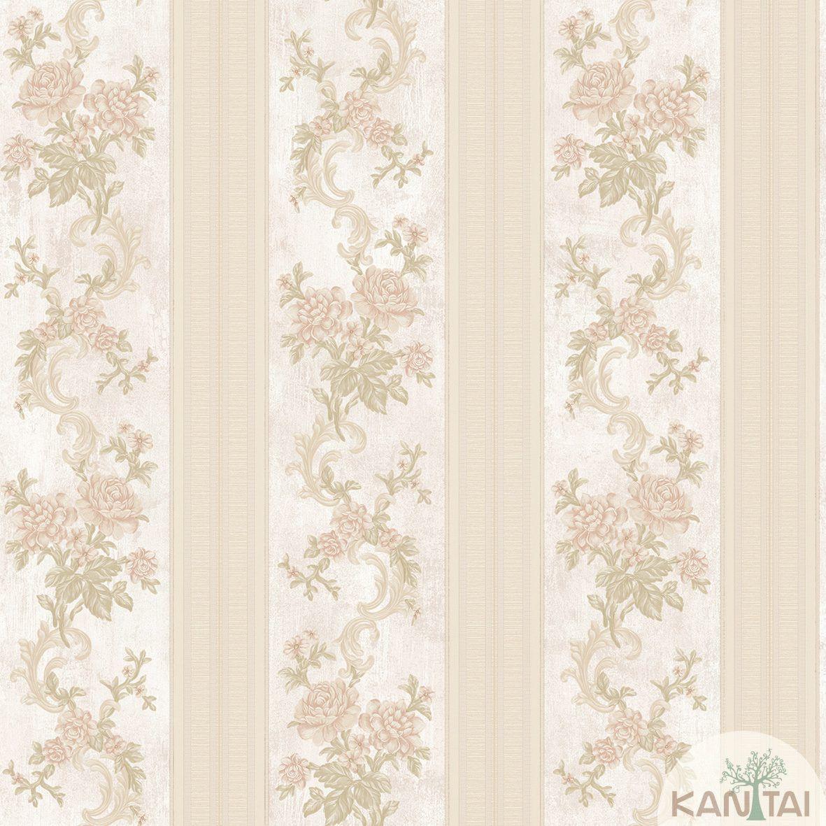 Papel de Parede Kan Tai Non Woven Coleção Flora 2 Baixo relevo Floral Listras, Rosê, Verde, Rosa, Dourado