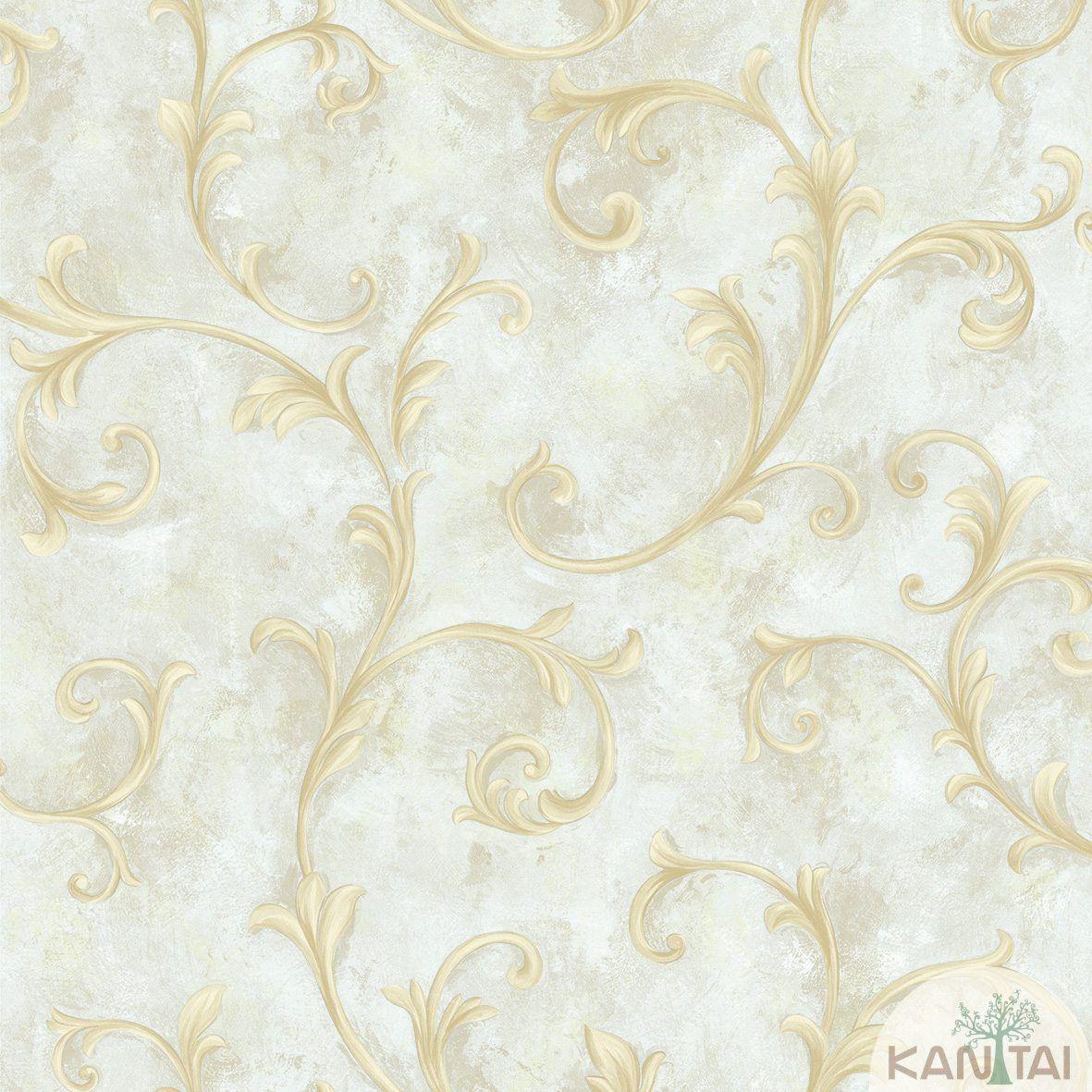 Papel de Parede Kan Tai Non Woven Coleção Flora 2 Baixo relevo Arabesco Floral Tons cinza, Dourado