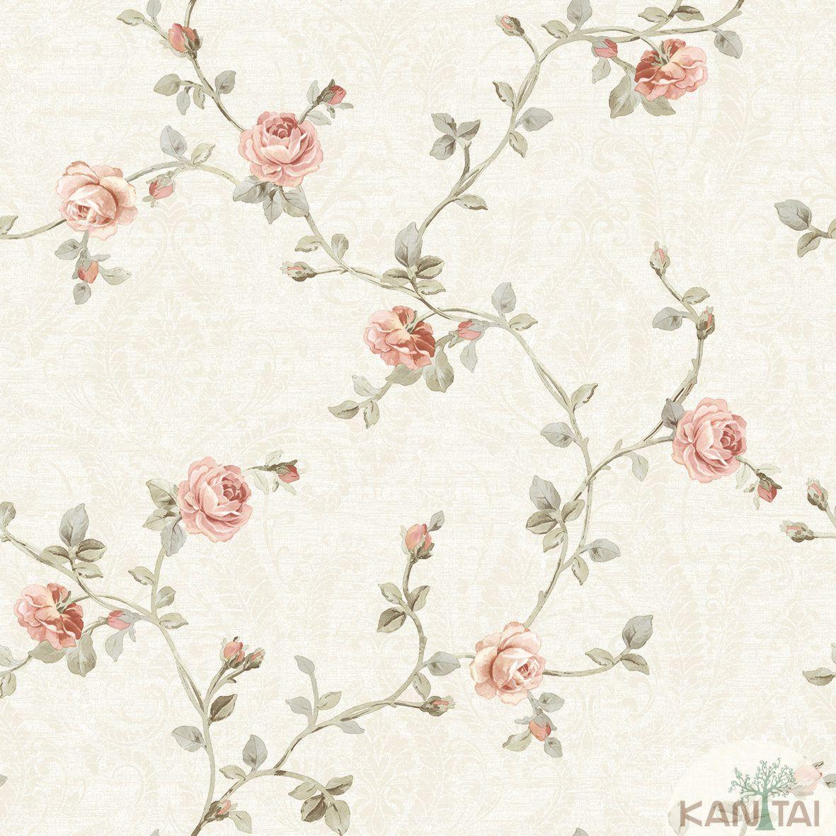 Papel de Parede Kan Tai Non Woven Coleção Flora 2 Baixo relevo Floral Bege claro, Rosa, Dourado
