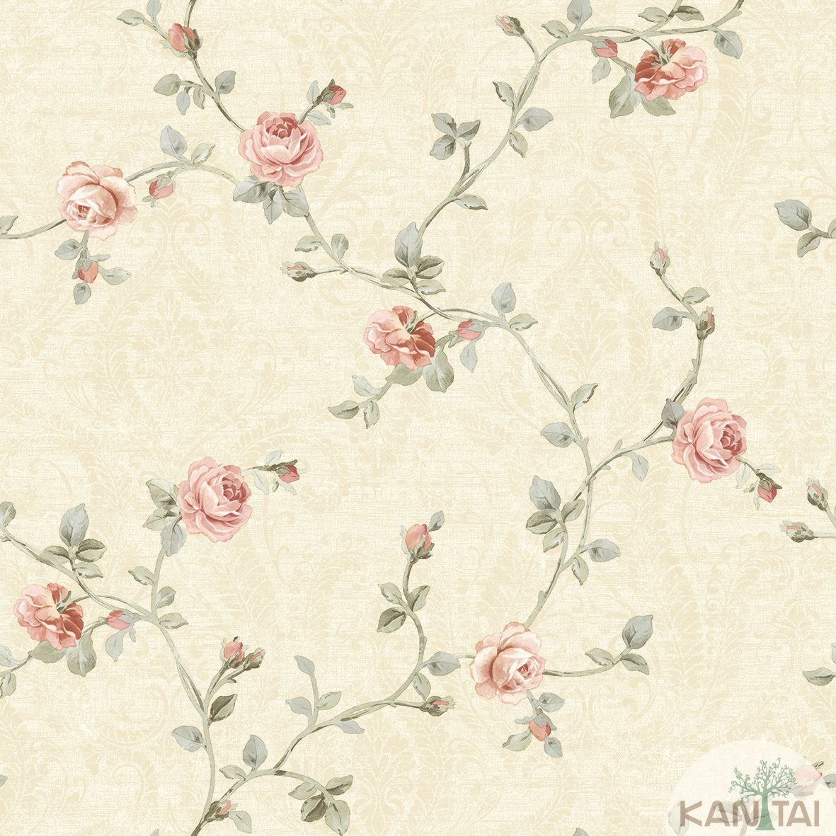 Papel de Parede Kan Tai TNT Coleção Flora 2 Floral Bege, Verde, Rosa, Baixo relevo