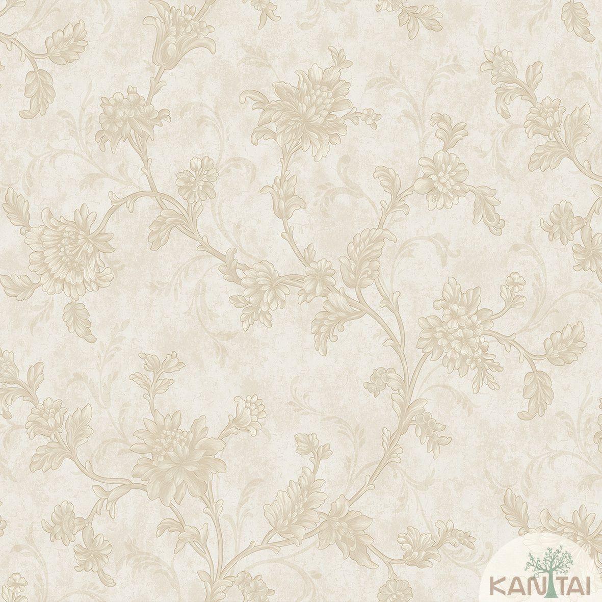 Papel de Parede Kan Tai TNT Coleção Flora 2 Arabesco Floral Bege, Dourado, Baixo relevo