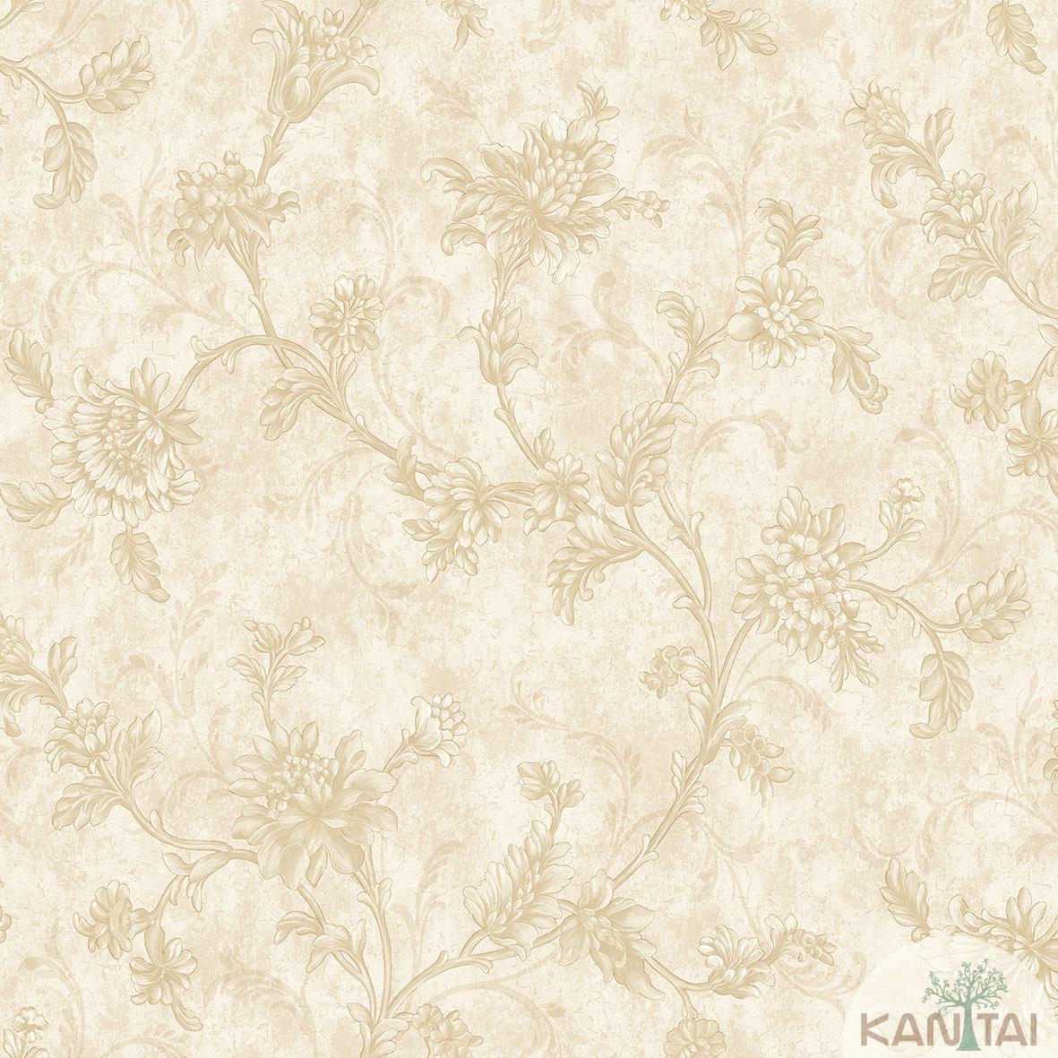 Papel de Parede Kan Tai Non Woven Coleção Flora 2 Baixo relevo Arabesco Floral Bege, Dourado
