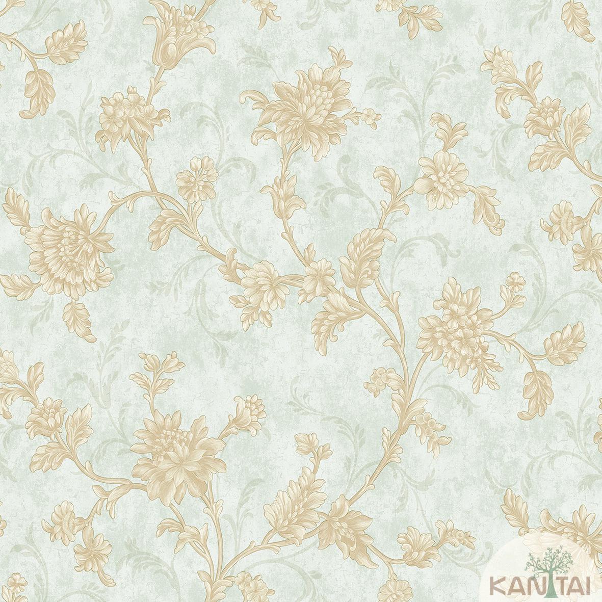 Papel de Parede Kan Tai Non Woven Coleção Flora 2 Baixo relevo Arabesco Floral tons verde, Dourado