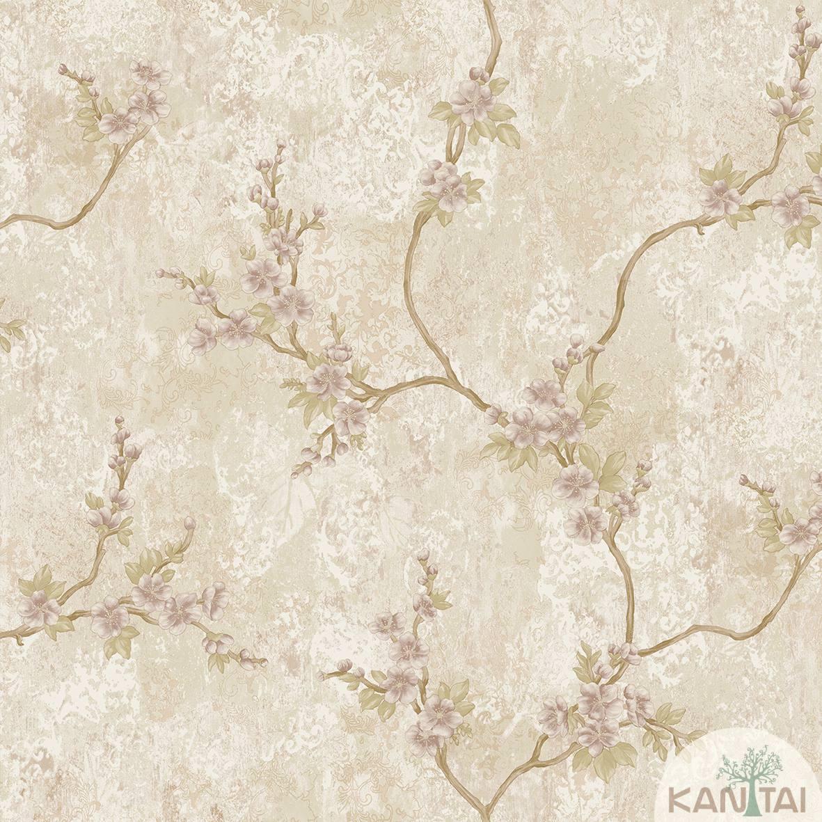Papel de Parede Kan Tai Non Woven Coleção Flora 2 Baixo relevo Floral Bege escuro, Lilás, Dourado
