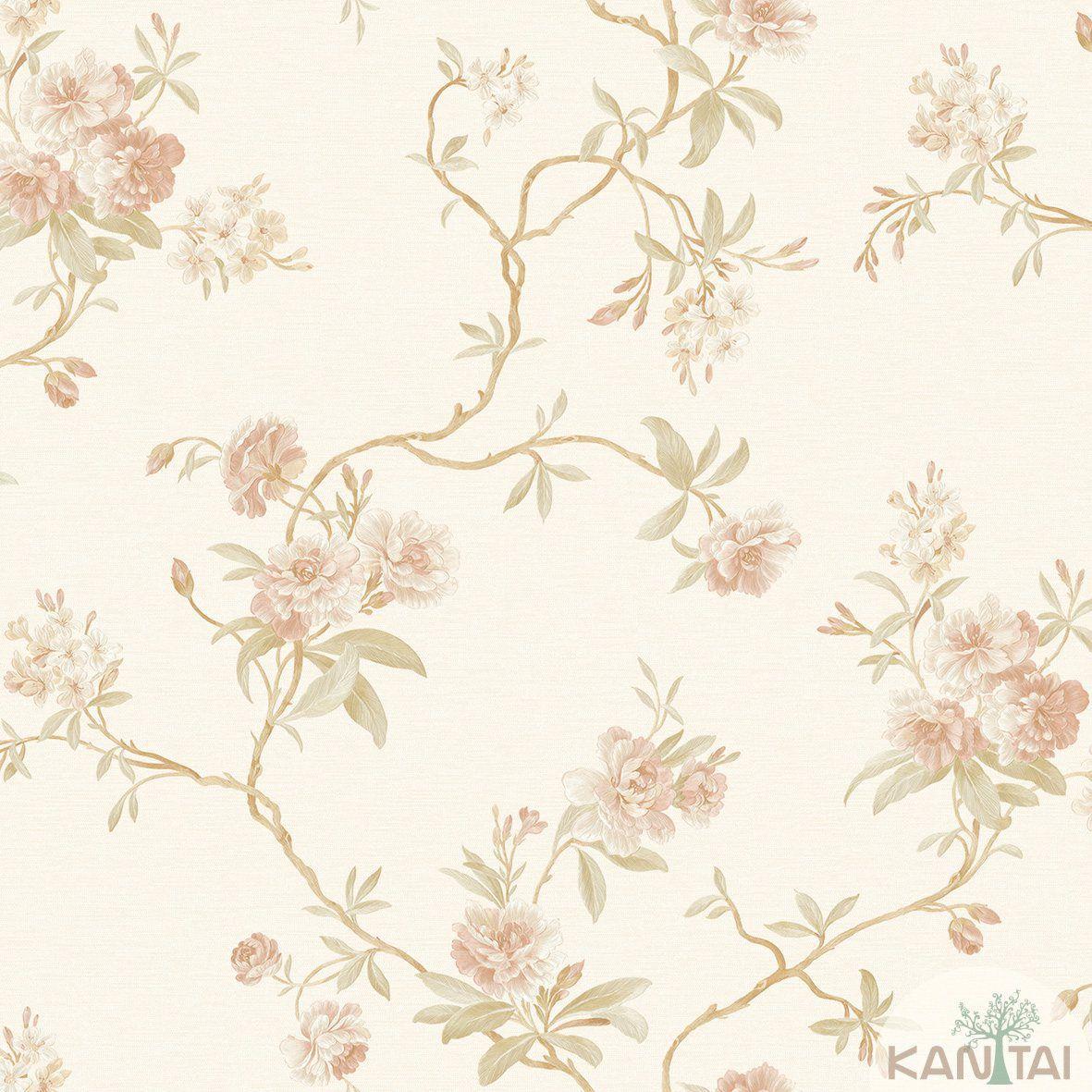 Papel de Parede Kan Tai Non Woven Coleção Flora 2 Baixo relevo Floral Creme, Dourado