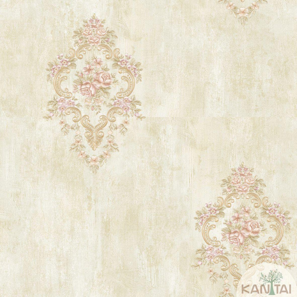 Papel de Parede Kan Tai TNT Coleção Flora 2 Floral Creme, Dourado, Lilás, Dourado, Baixo relevo