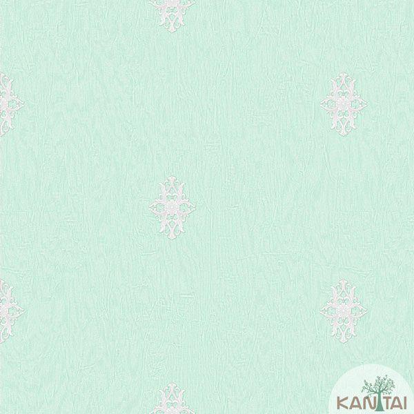Papel de Parede Kan Tai Vinílico Coleção Barcelona Mini Arabesco Verde Claro, Prata