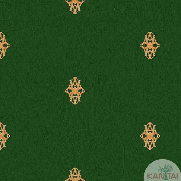 Papel de Parede Kan Tai Vinílico Coleção Barcelona Mini Arabesco Verde,  Laranja