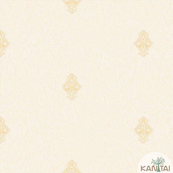 Papel de Parede Kan Tai  Vinílico Coleção Barcelona Mini Arabesco Tons Pasteis, Amarelo Ouro