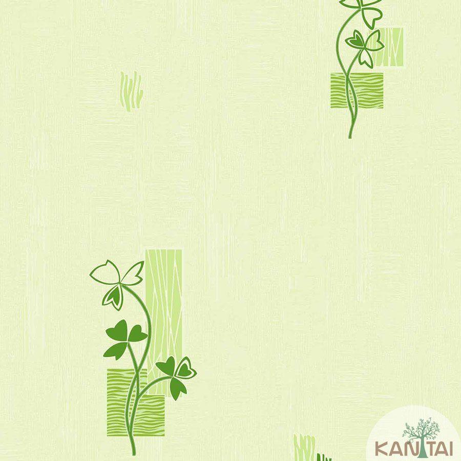 Papel de Parede Kantai Vinílico Coleção Barcelona Floral Verde, Tons de Verde Claro