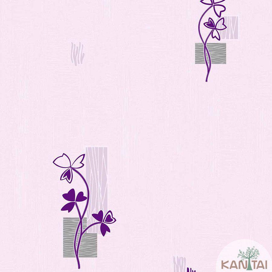 Papel de Parede kantai Vinílico Coleção Barcelona Floral Lilás, Roxo, Cinza