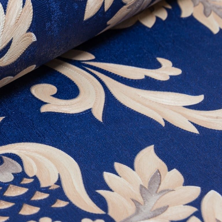 Papel de Parede Paris Decor Vinílico Coleção Chamonix Damask Azul, Dourado