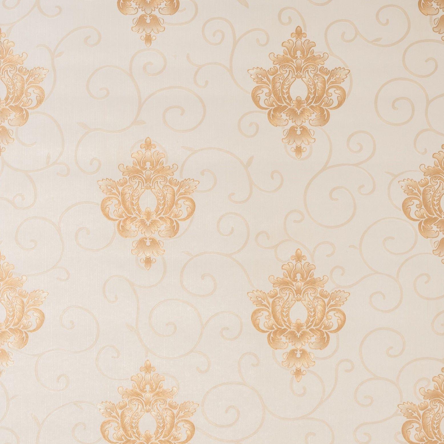 Papel de Parede Paris Decor Vinílico Coleção Chamonix Damask Bege, Dourado