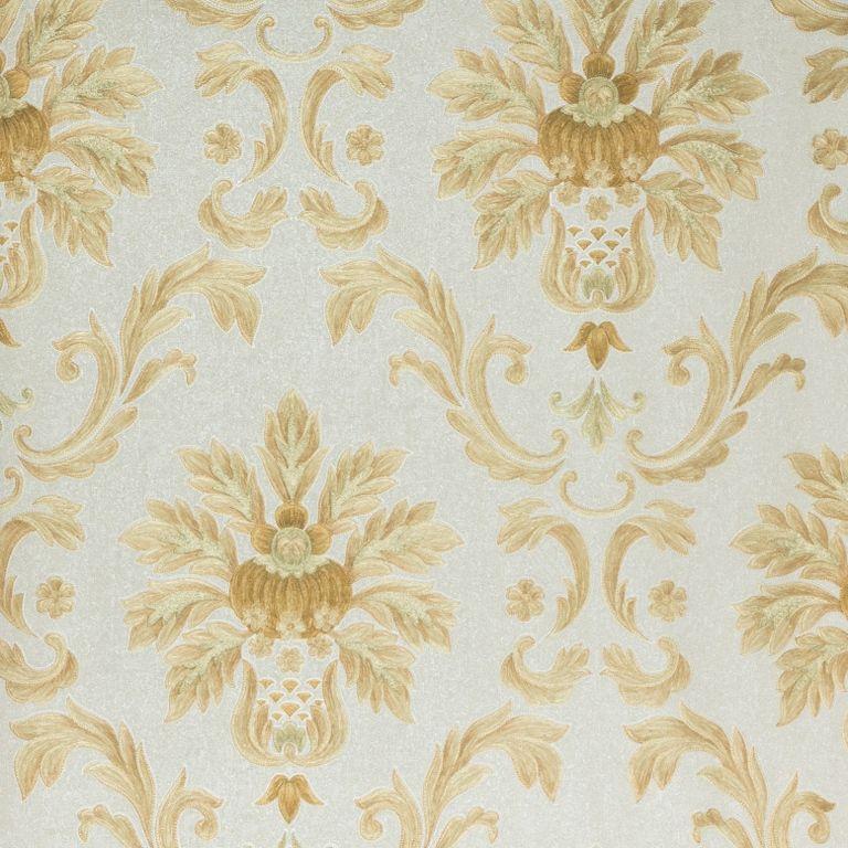Papel de Parede Paris Decor Vinílico Coleção Chamonix Damask Cinza, Dourado