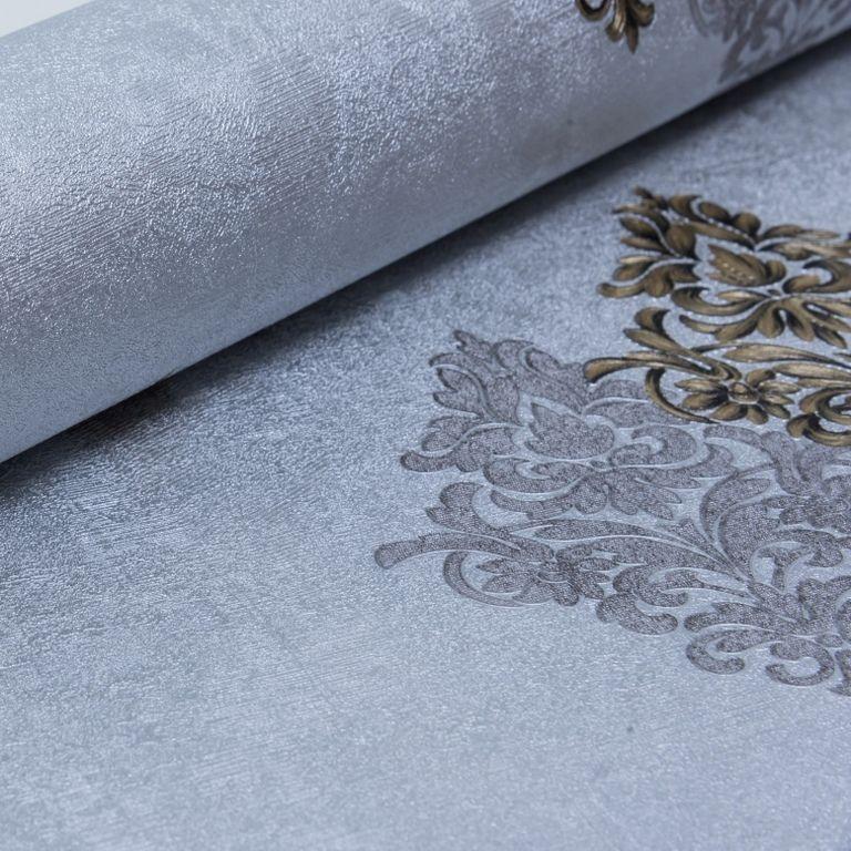 Papel de Parede Paris Decor Vinílico Coleção Chamonix Damask Cinza, Dourado, Preto
