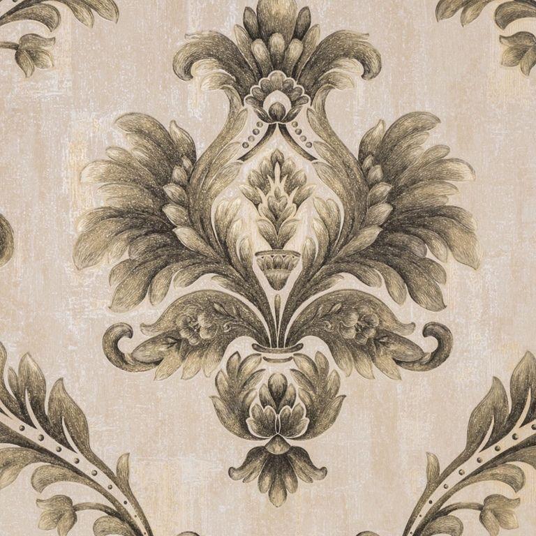 Papel de Parede Paris Decor Vinílico Coleção Chamonix Damask Nude, Dourado,  Preto