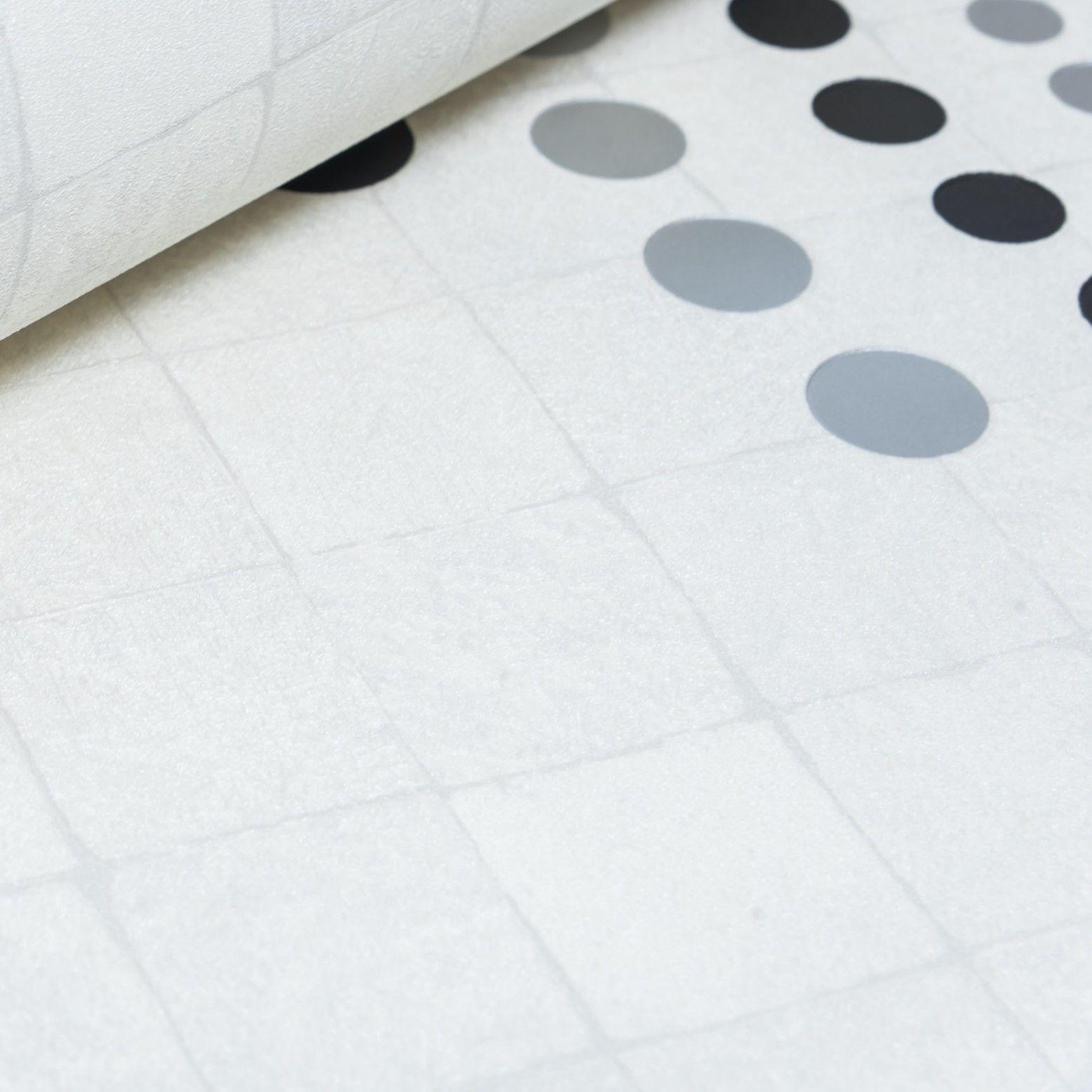 Papel de Parede Paris Decor Vinílico Coleção Chamonix Geométrico Diamante Branco, Tons Cinza, Preto