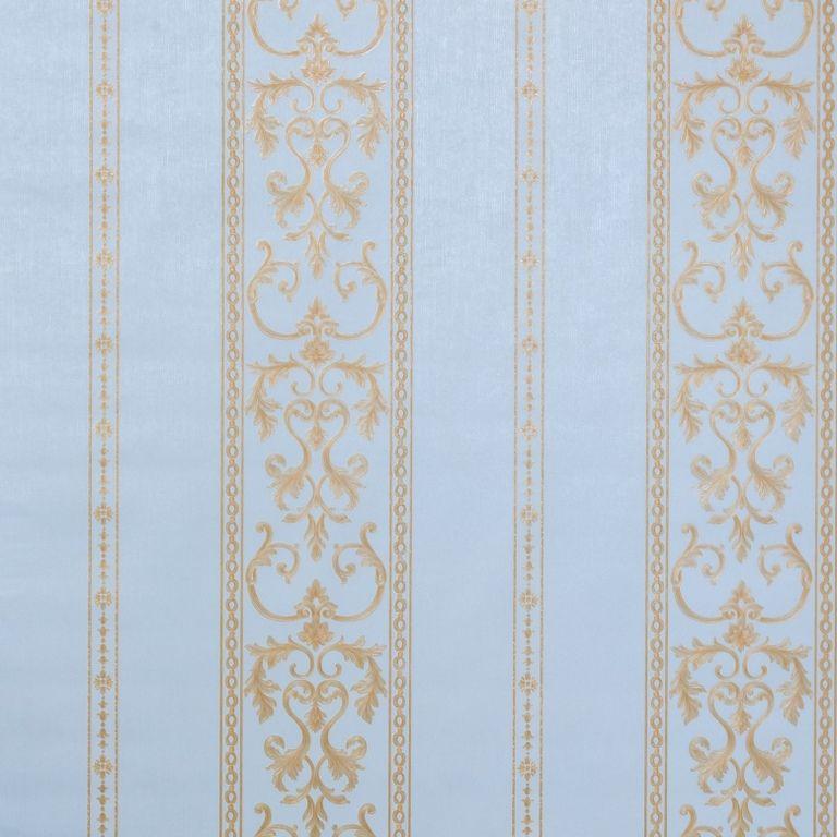 Papel de Parede Paris Decor Vinílico Coleção Chamonix Listras Damask Azul, Dourado