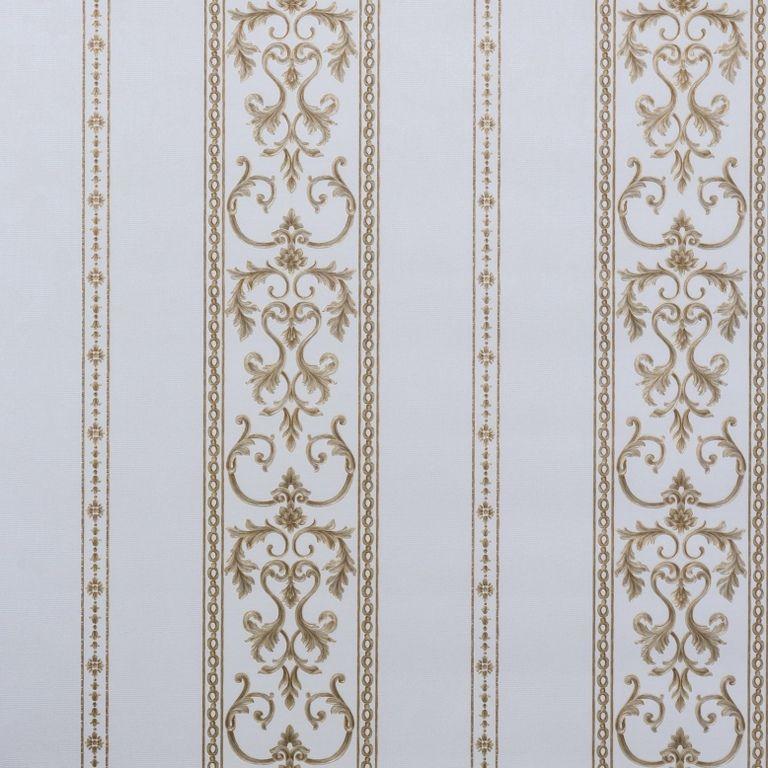 Papel de Parede Paris Decor Vinílico Coleção Chamonix Listras Damask Nude, Dourado