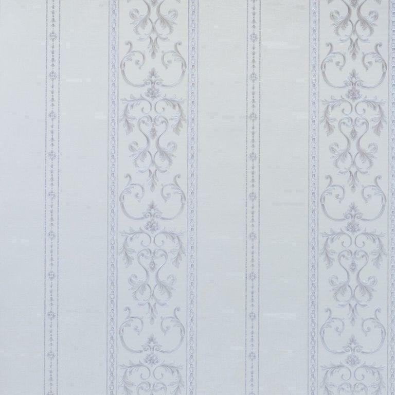 Papel de Parede Paris Decor Vinílico Coleção Chamonix Listras Damask Off White  Cinza