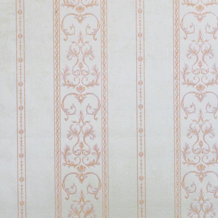Papel de Parede Paris Decor Vinílico Coleção Chamonix Listras Damask Off White, Salmão
