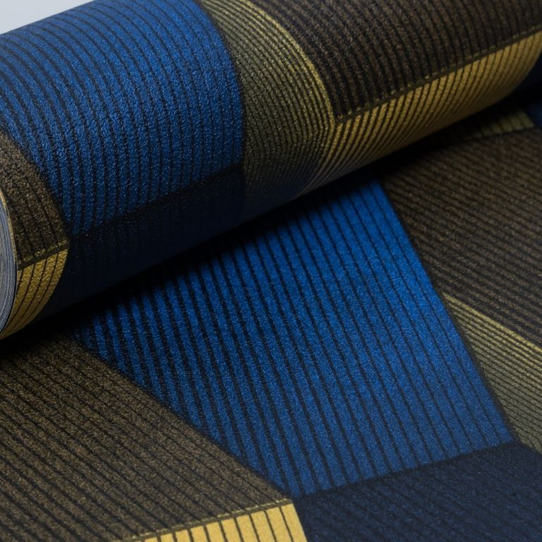 Papel de Parede Paris Decor Vinílico Coleção Chamonix Geométrico Mosaico Azul,  Amarelo