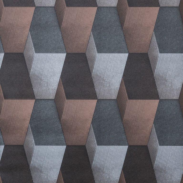 Papel de Parede Paris Decor Vinílico Coleção Chamonix Geométrico Mosaico Cinza, Marrom