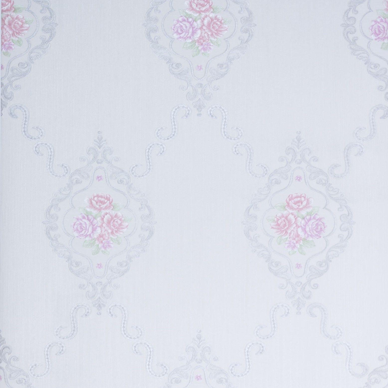 Papel de Parede Paris Decor Vinílico Coleção Chamonix Damask Floral Off White, Cinza, Rosa