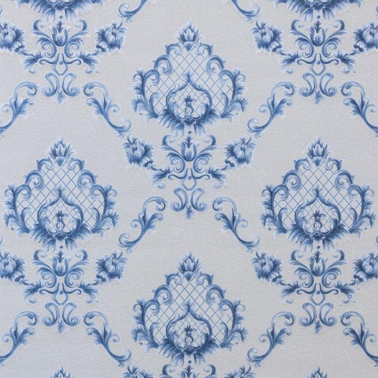 Papel de Parede Paris Decor Vinílico Coleção Chamonix Damask Off White, Azul