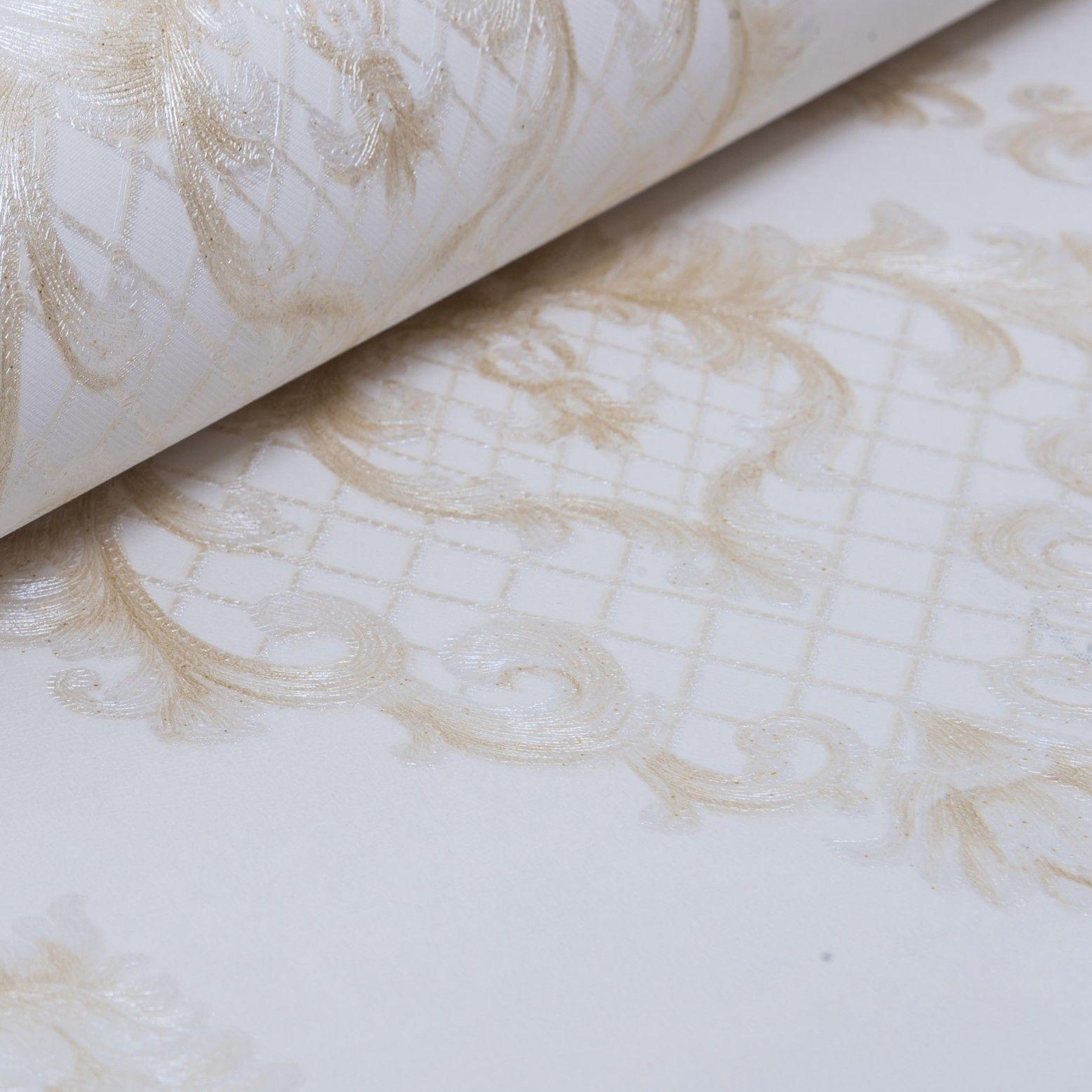 Papel de Parede Paris Decor Vinílico Coleção Chamonix Damask Off White, Bege
