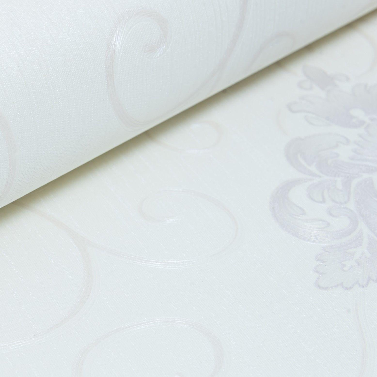 Papel de Parede Paris Decor Vinílico Coleção Chamonix Damask Off White, Cinza