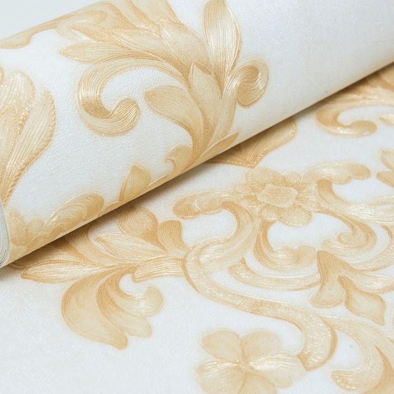 Papel de Parede Paris Decor Vinílico Coleção Chamonix Damask Off White, Dourado
