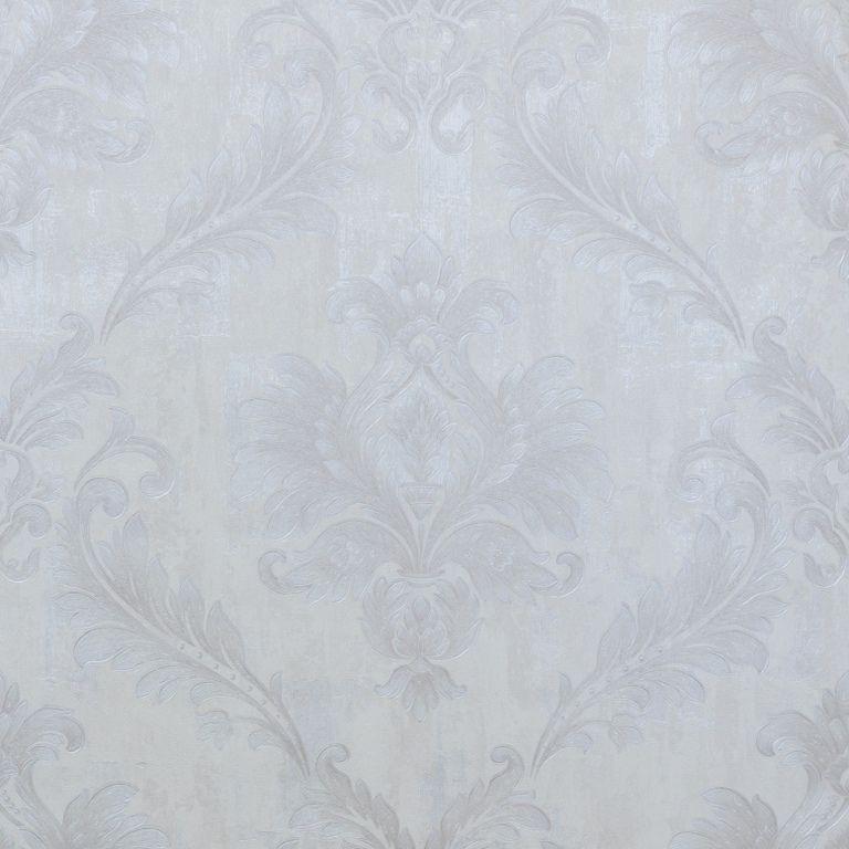 Papel de Parede Paris Decor Vinílico Coleção Chamonix Damask Off White, Prata