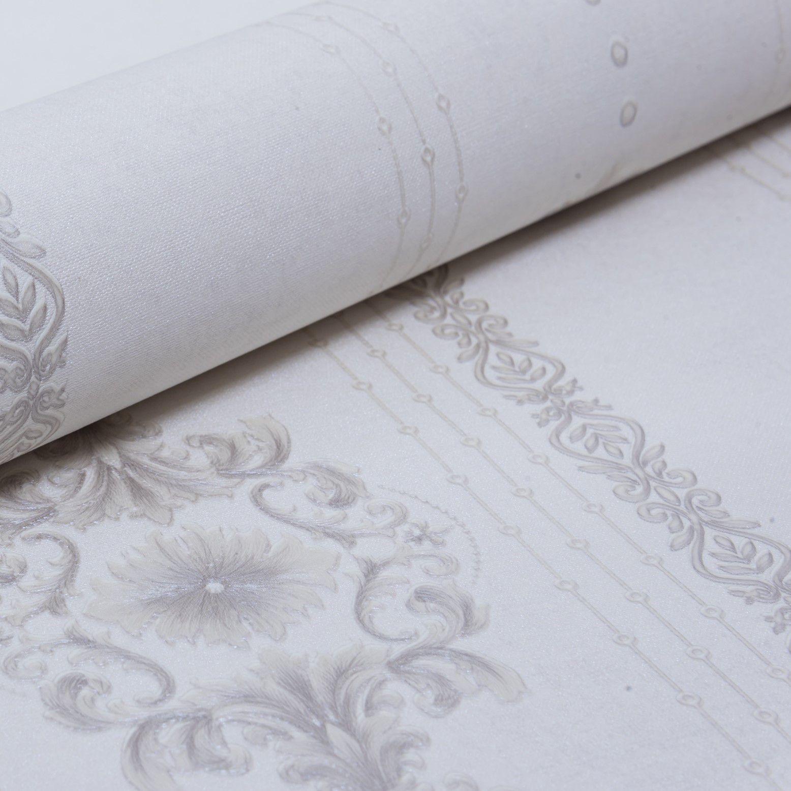 Papel de Parede Paris Decor Vinílico Coleção Colmar  Damask Branco, Cinza