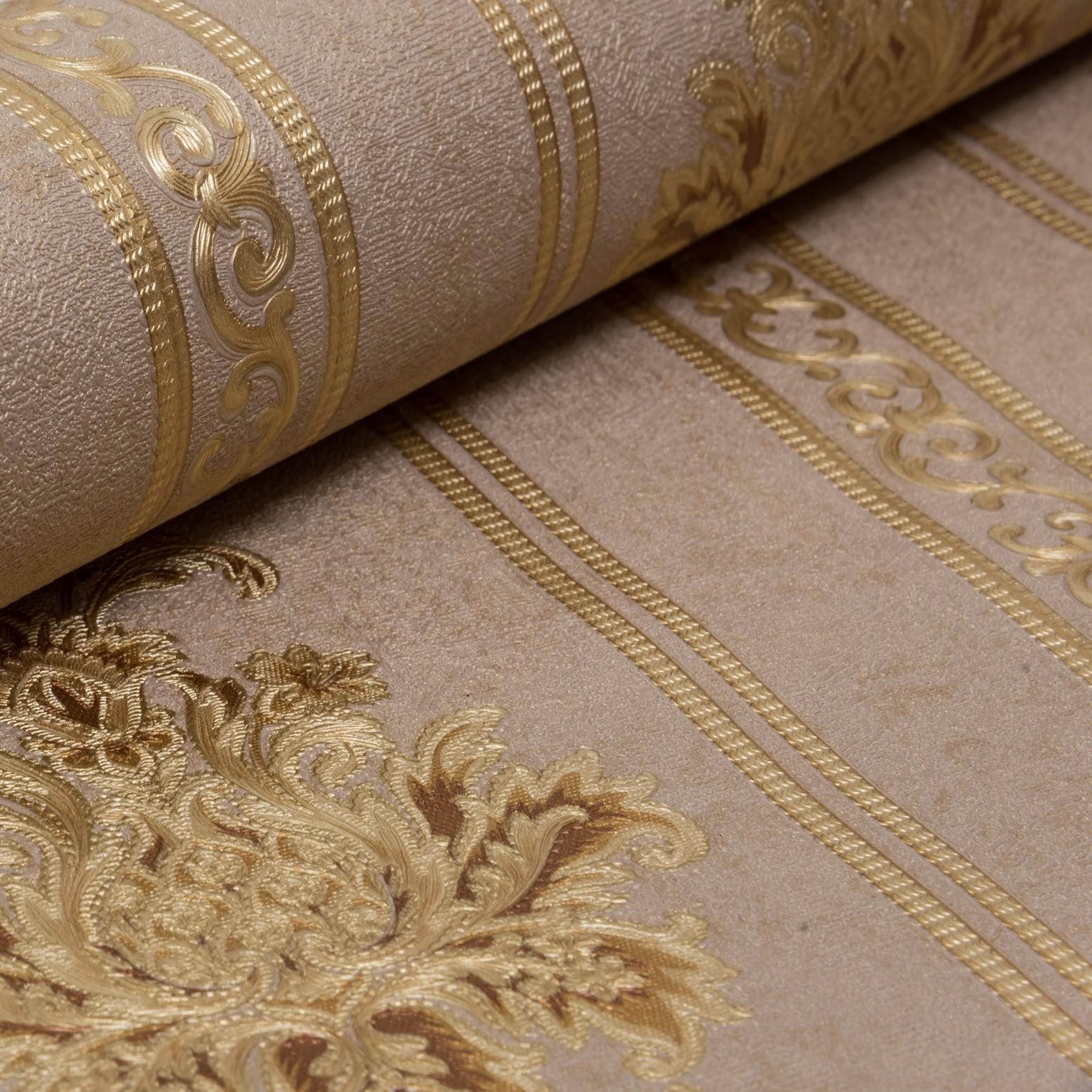 Papel de Parede Paris Decor Vinílico Coleção Colmar Damask Listras Marrom, Dourado
