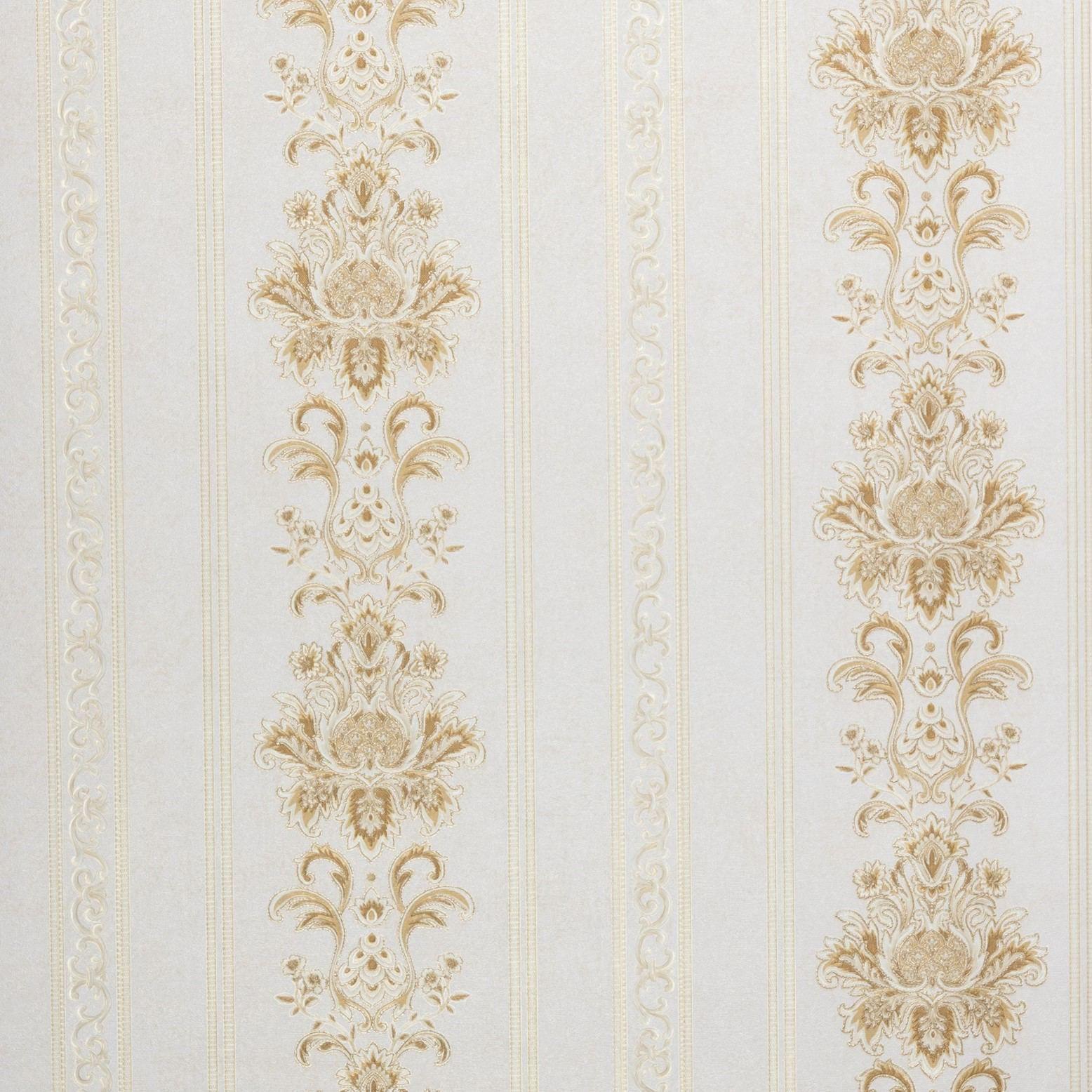 Papel de Parede Paris Decor Vinílico Coleção Colmar Damask Listras Off White, Nude, Dourado