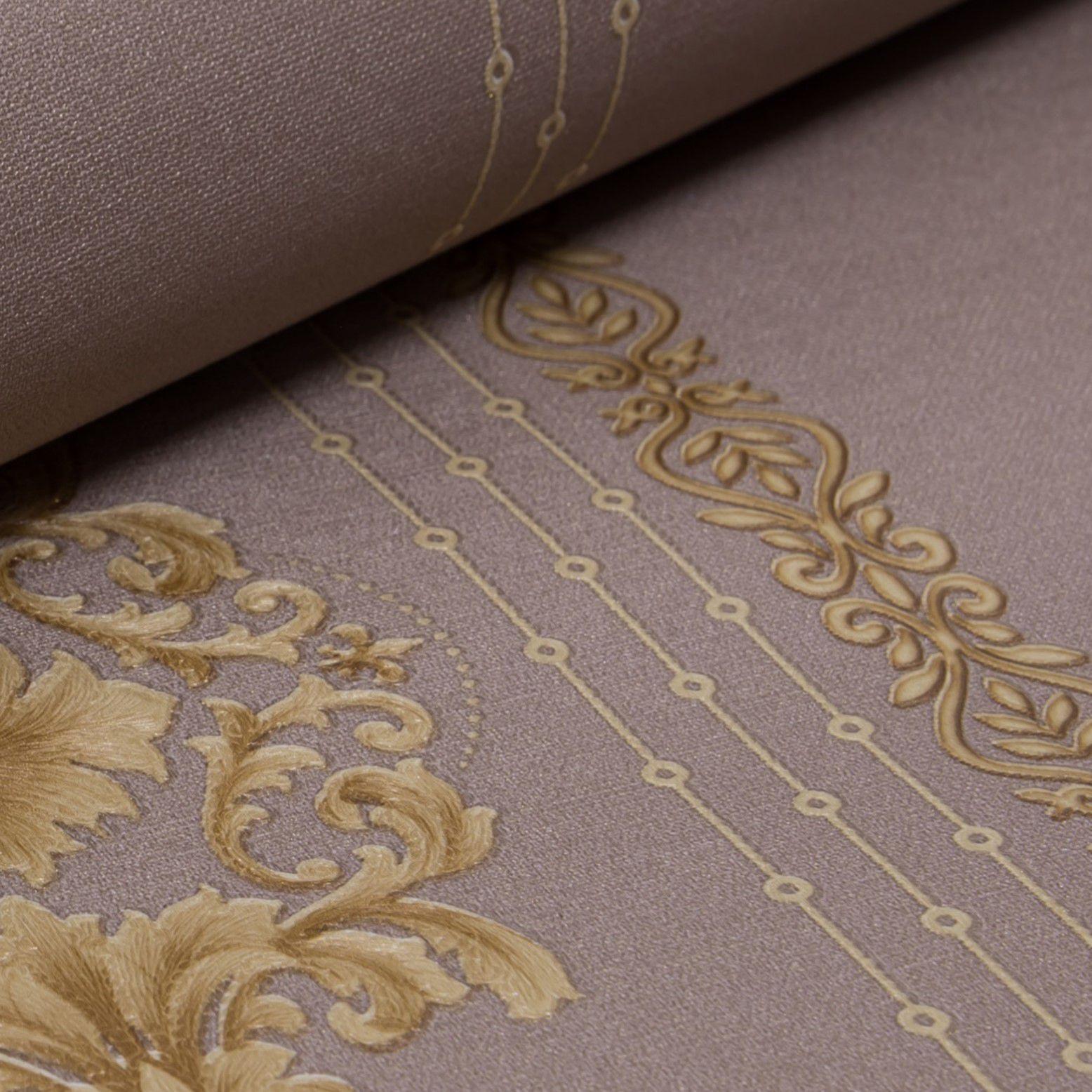 Papel de Parede Paris Decor Vinílico Coleção Colmar Damask Marrom, Dourado