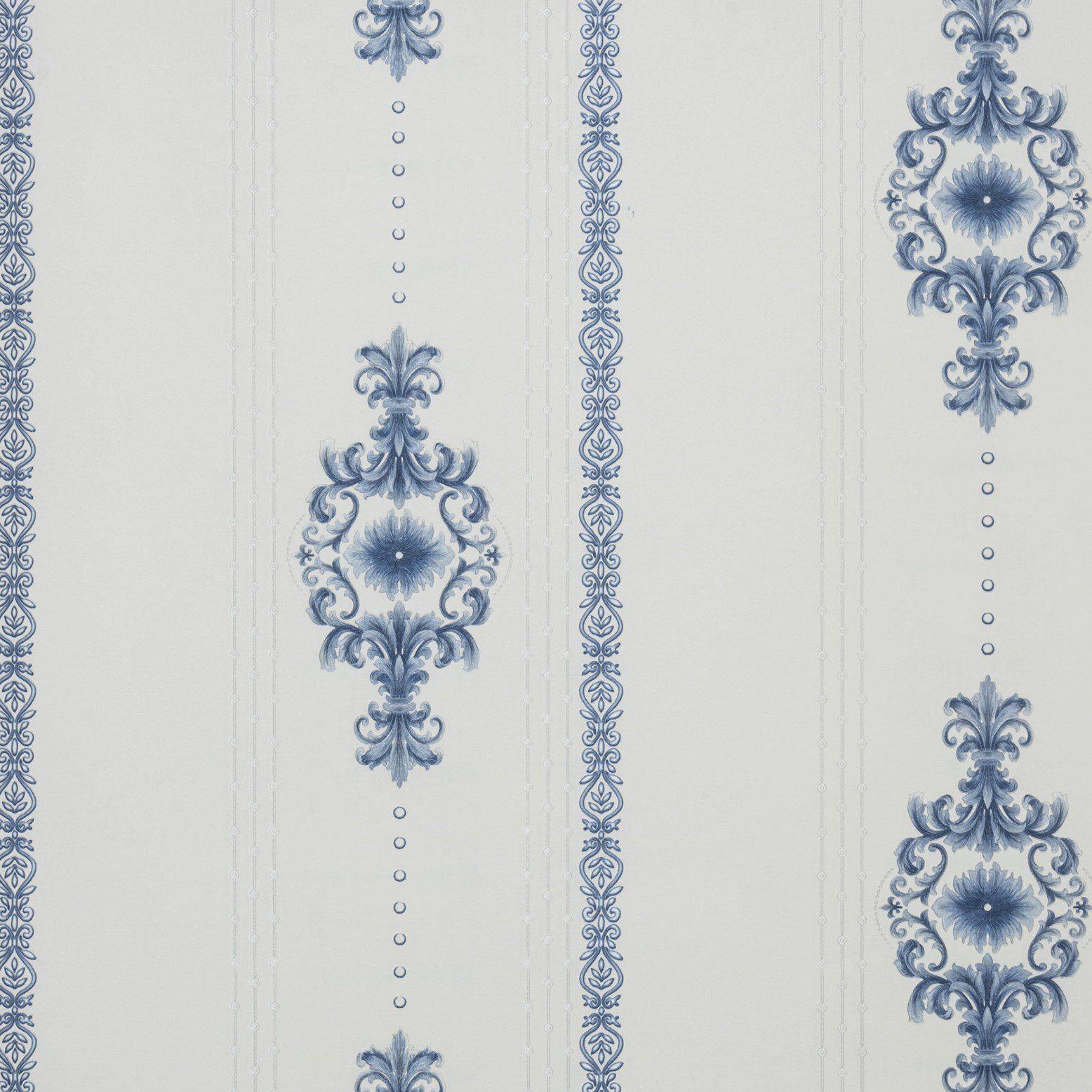 Papel de Parede Paris Decor Vinílico Coleção Colmar Damask Off White, Azul
