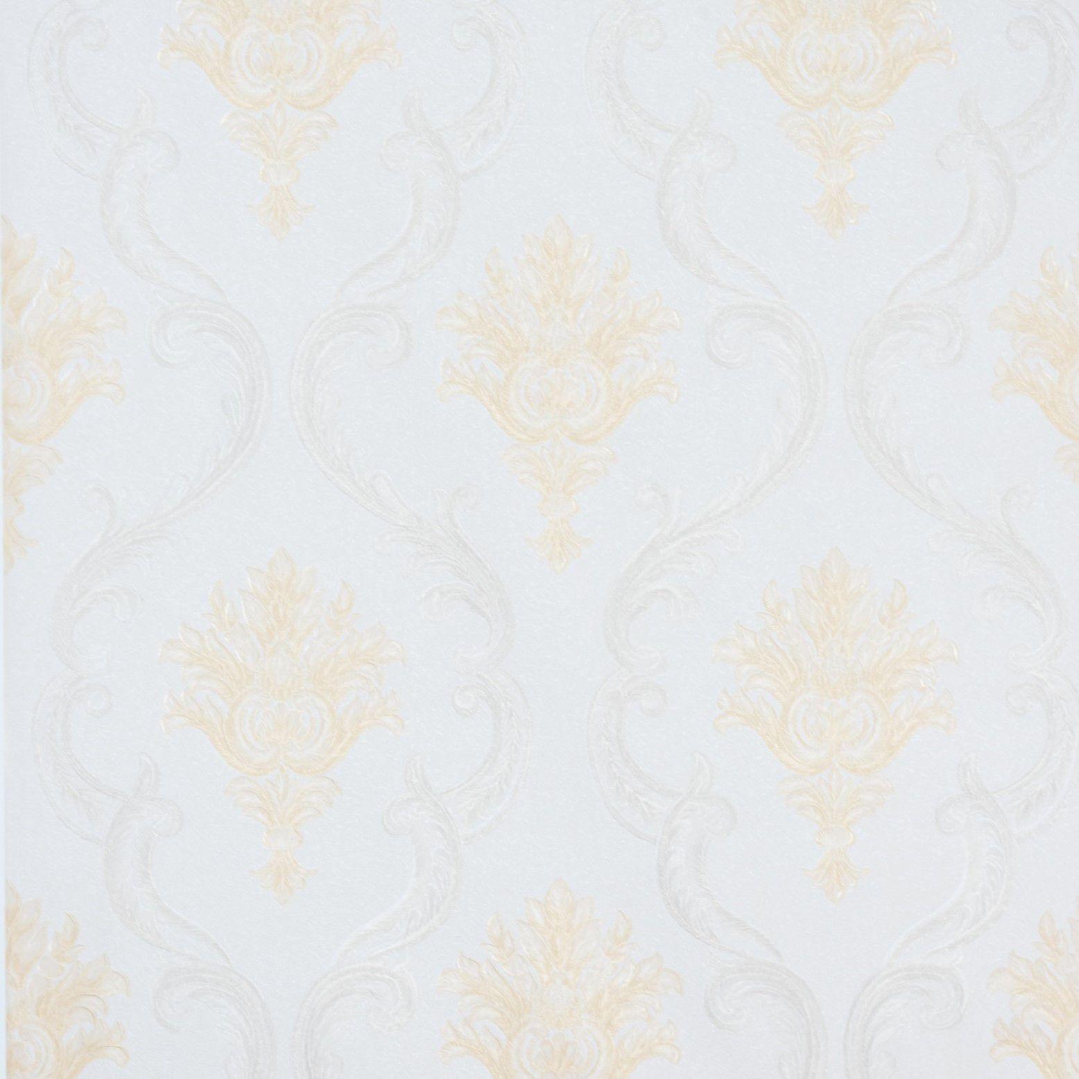 Papel de Parede Paris Decor Vinílico Coleção Colmar Damask Off White, Dourado