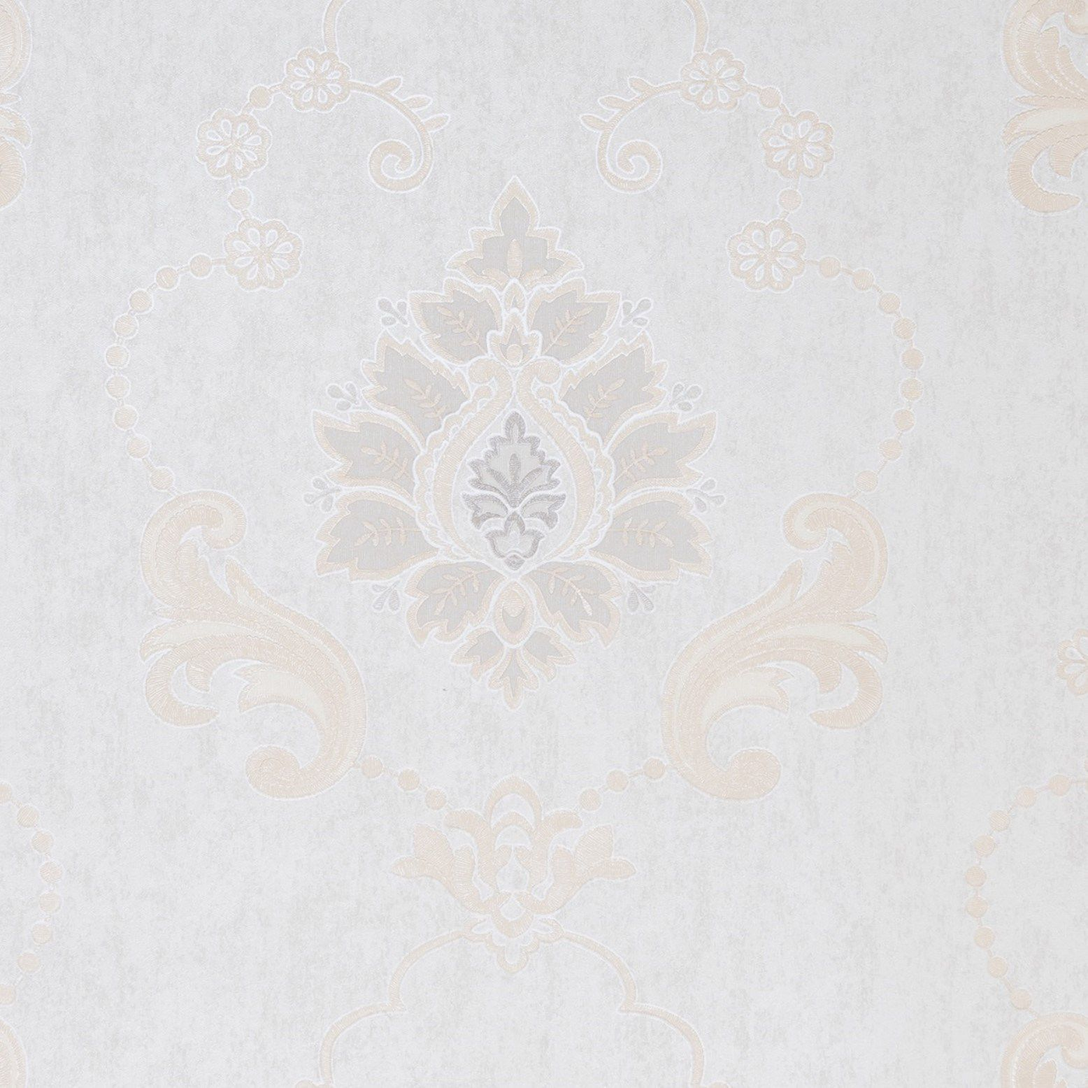 Papel de Parede Paris Decor Vinílico Coleção Colmar Damask Off White, Nude