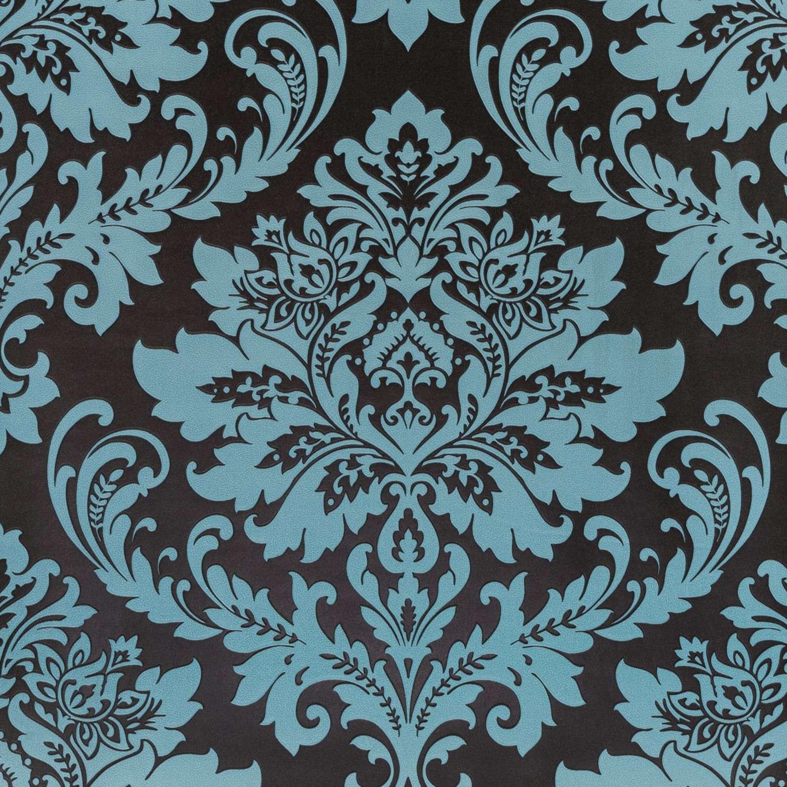 Papel de Parede Paris Decor Vinílico Coleção Colmar Damask Preto, Azul
