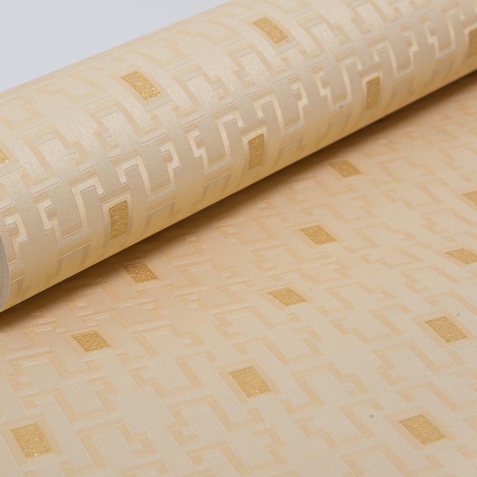 Papel de Parede Paris Decor Vinílico Coleção Colmar Geométrico Amarelo, Dourado