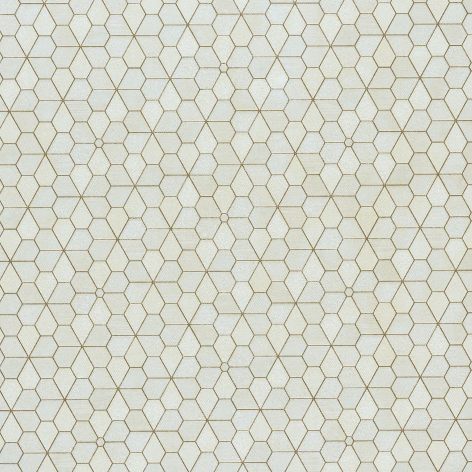 Papel de Parede Paris Decor Vinílico Coleção Colmar Geométrico Colméia Amarelo, Dourado