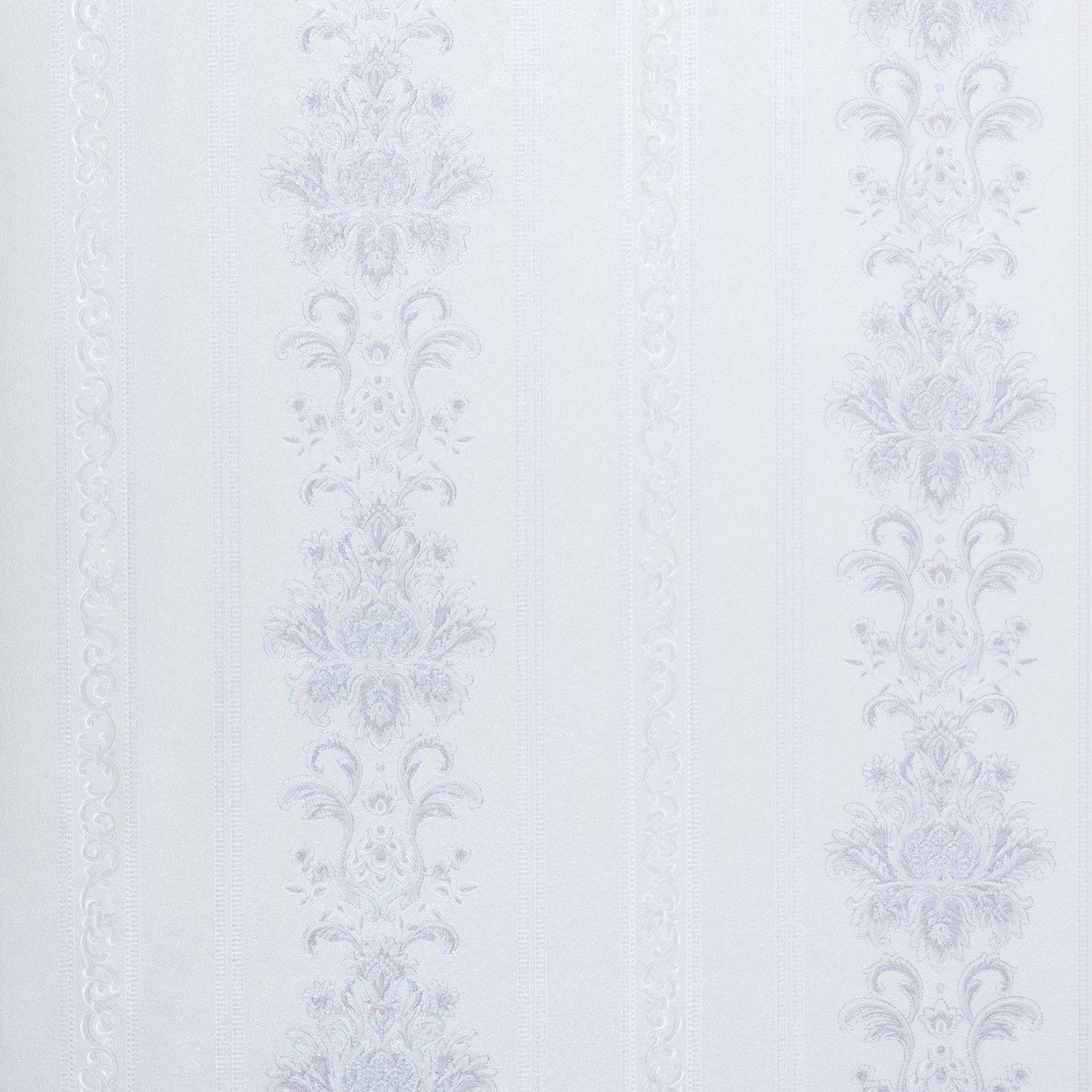 Papel de Parede Paris Decor Vinílico Coleção Colmar Listras Adamascado Off White, Cinza
