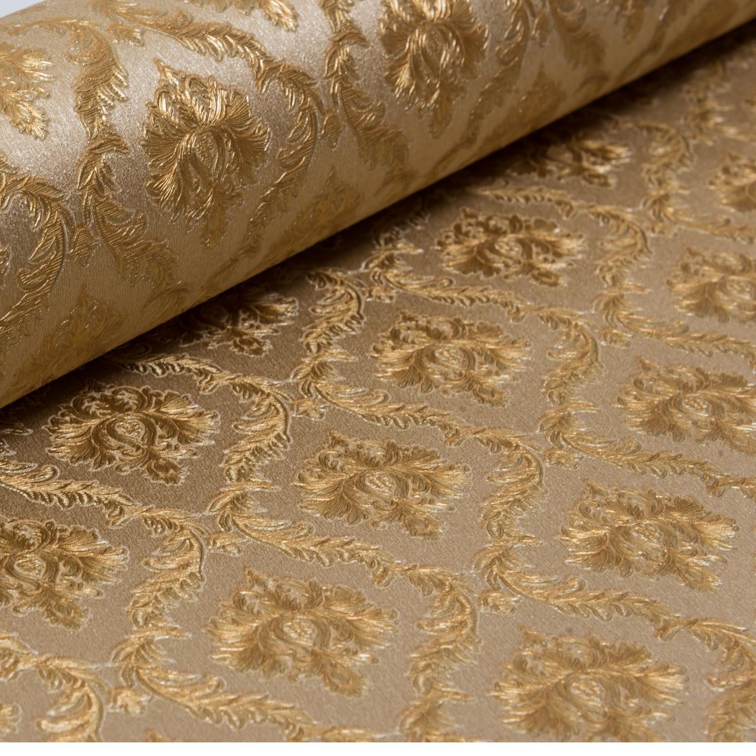 Papel de Parede Paris Decor Vinílico Coleção Colmar Mini Damask Marrom, Dourado