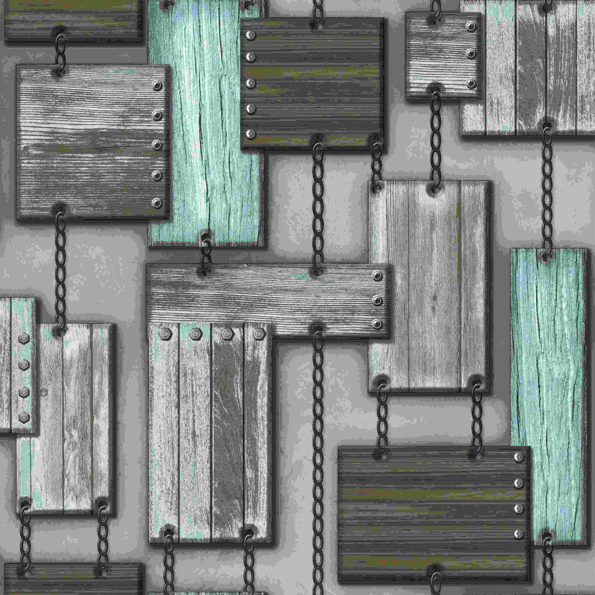 Papel de Parede Kan Tai Vinílico Coleção Neonature 5 Formas Madeira Cinza, Marrom, Azul
