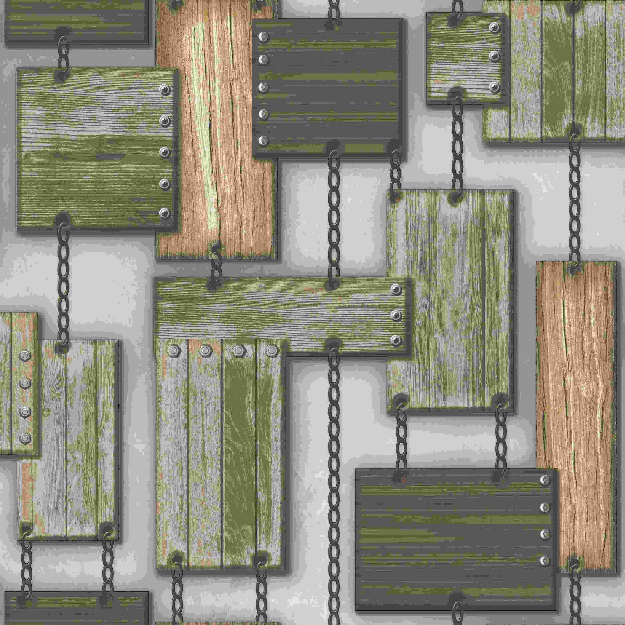 Papel de Parede Kan Tai Vinílico Coleção Neonature 5 Formas madeira cinza, Marrom, Bege
