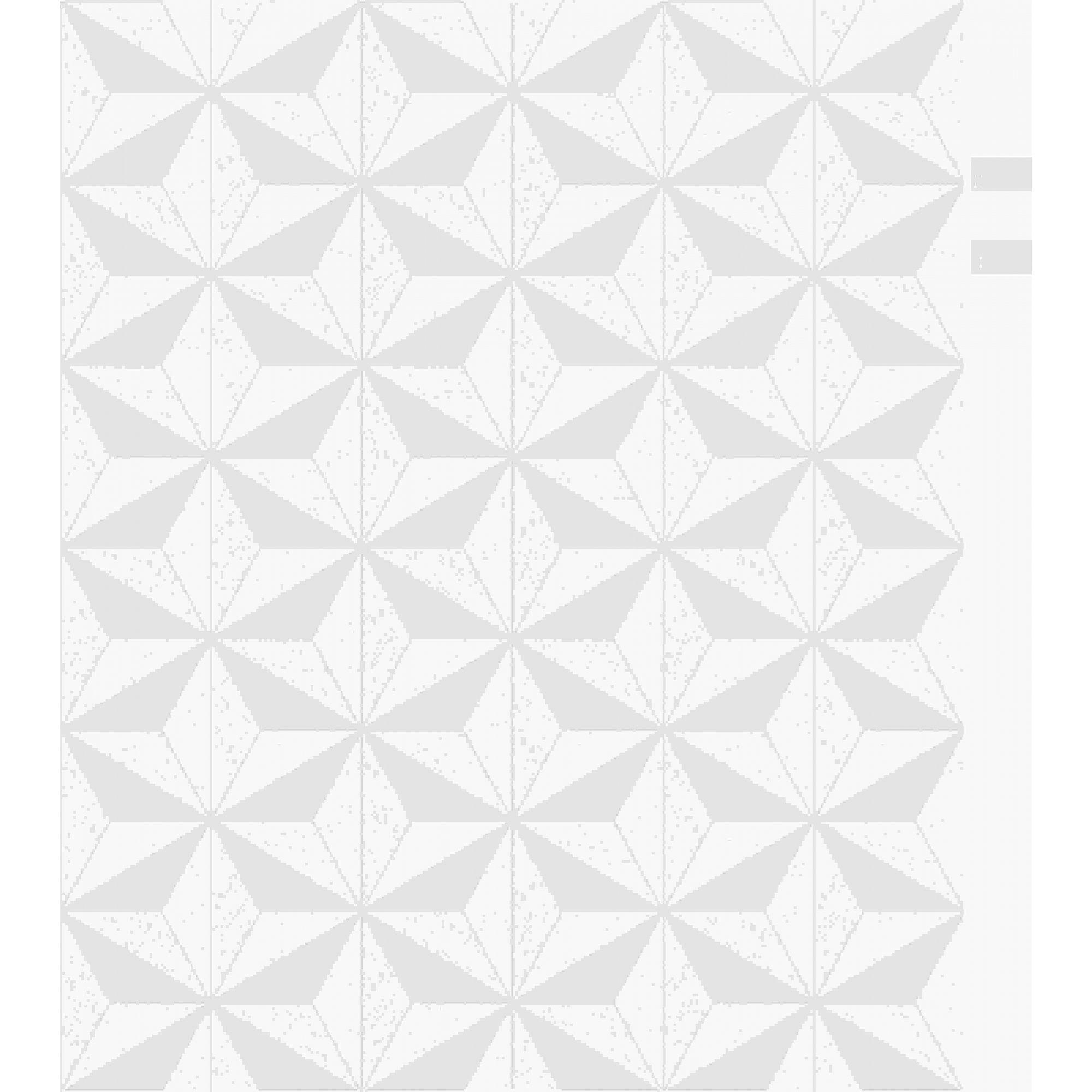 Papel de Parede Kan Tai Vinílico Coleção Neonature 5 Geométrico 3D Estrela Tons cinza, Creme