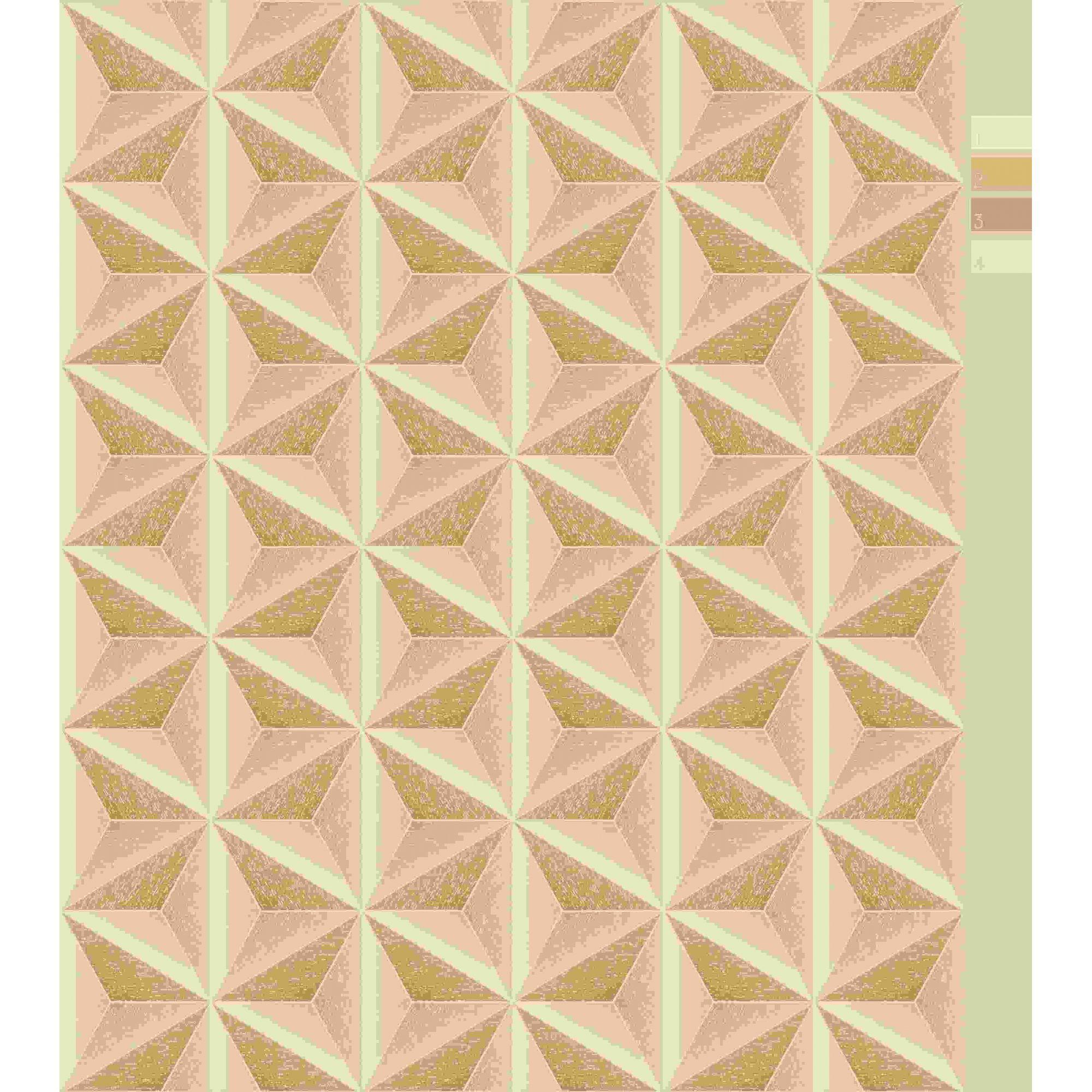 Papel de Parede Kan Tai Vinílico Coleção Neonature 5 Geométrico 3D Estrela Dourado