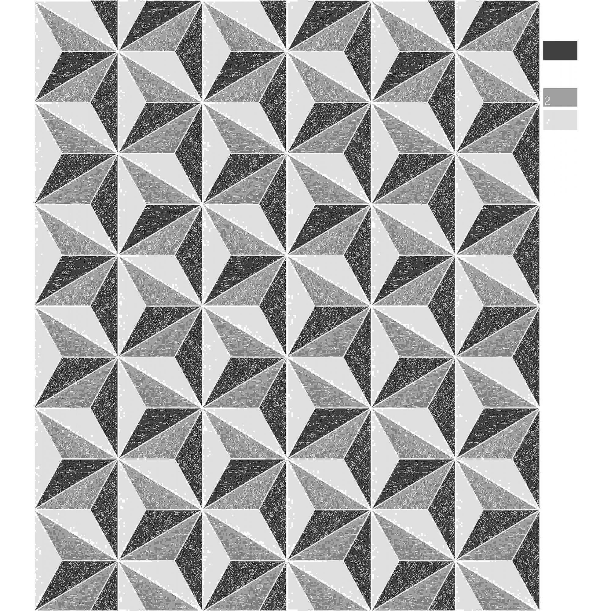 Papel de Parede Kan Tai Vinílico Coleção Neonature 5 Geométrico 3D Estrela Marrom, Cinza, Creme